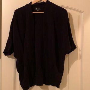 Black open-front cardigan